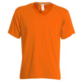 T-SHIRT V-NECK UOMO COLLO A V ARANCIO