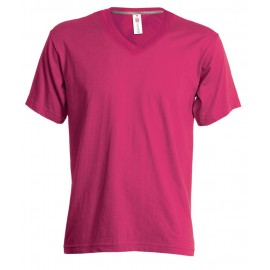 T-SHIRT V-NECK LADY FUXIA