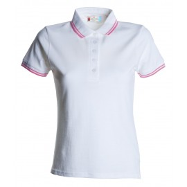 POLO PIQUET SKIPPER LADY BIANCO FUXIA FLUO